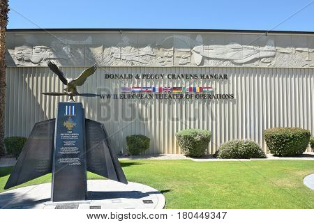 PALM SPRINGS, CALIFORNIA - MARCH 24, 2017: Palm Springs Air Museum Distinguished Flying Cross Memorial. Over 100,000 visitors annually tour the 65,000 square foot non-profit museum.