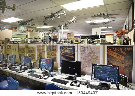 PALM SPRINGS, CALIFORNIA - MARCH 24, 2017: Flight Simulators at the Palm Springs Air Museum. Over 100,000 visitors annually tour the 65,000 square foot non-profit museum.