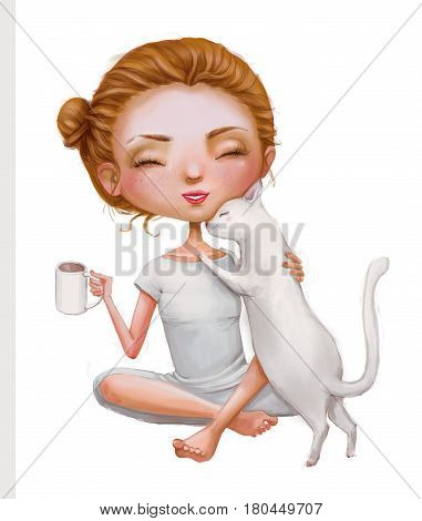 cute cartoon girl with cat and cup