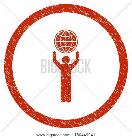 Globalist grainy textured icon inside circle for overlay watermark stamps. Flat symbol with dust texture. Circled dotted vector red ink rubber seal stamp with grunge design on a white background.