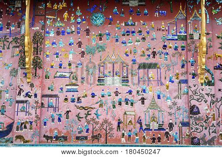 Artwork Of Wat Xieng Thong Temple In Luang Prabang