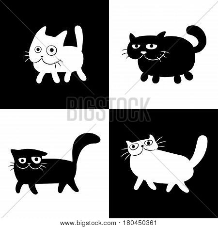 Walking Chess Cats Set in Black and white Colors. Funny Cartoon Cool Characters. Cheerful Pet Catlike Web Icons and Shirts. Pictures for Kids. Isolated Vector Illustration.