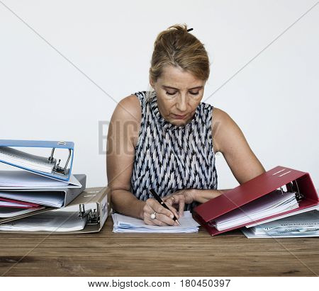 Woman Writing Documents Working Overload