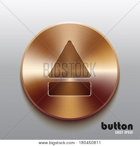 Round eject button with brushed bronze texture isolated on gray background