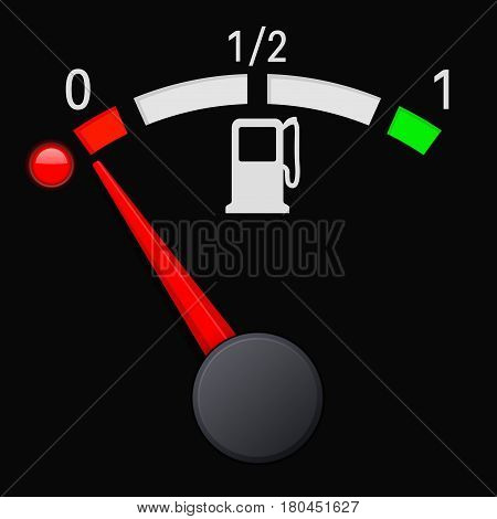 Black fuel gauge scale. Empty tank. Vector 3d illustration