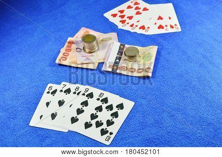 spade straight flush win in poker game