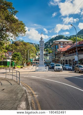 Victoria Mahe Seychelles - December 16 2015: The clock tower of Victoria also known as Little Big Ben Seychelles.