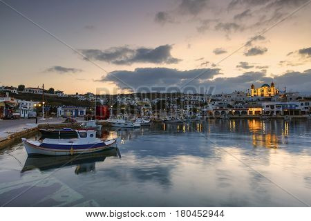 LIPSI, GREECE - MARCH 27, 2017: Village of Lipsi island in Dodecanese, Greece on March 27, 2017.