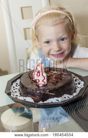 portrait of girl with a birhday cake