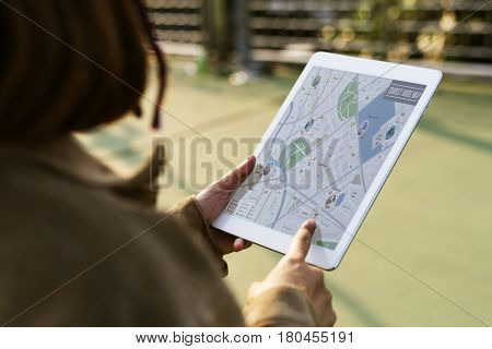 Hands Hold Digital Tablet Show GPS Navigation Map
