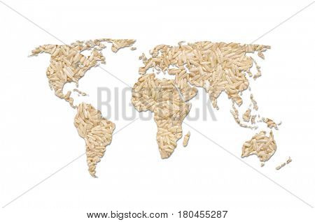 Outline map of the world filled with long grain rice
