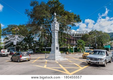 Victoria Mahe Seychelles - December 16 2015: View of the replica of the Big Ben in the city of Victoria Seychelles.
