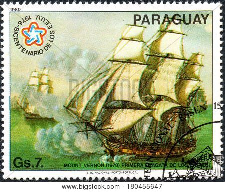 UKRAINE - CIRCA 2017: A postage stamp printed in Paraguai shows Mount Vernon 1978 First frigate of the U.S. from the series International stamps exhibitions: ship paintings circa 1980