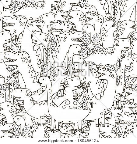Doodle dinosaurs seamless pattern. Black and white cute dinos background. Great for coloring book, wrapping, printing, fabric and textile. Vector illustration