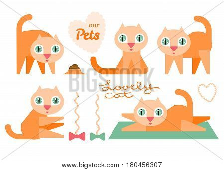 Illustration of funny cartoon red cats. Flat design. Vector set.