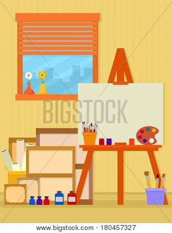 home art studio interior for artist with equipment and tools art industry