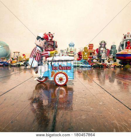 toy ice cream cart on wooden floor