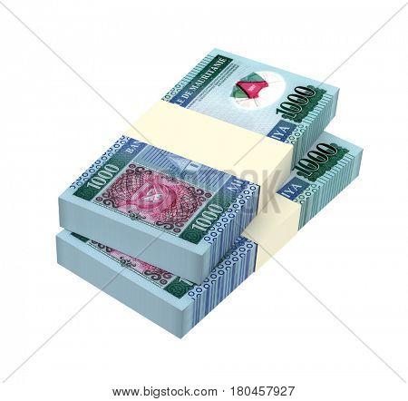 Mauritanian ouguiya bills isolated on white background. 3D illustration.