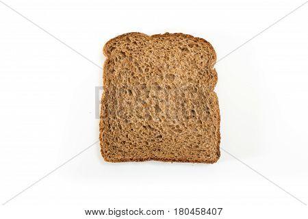 Whole Grain Sandwich Bread Slice, On White Background.