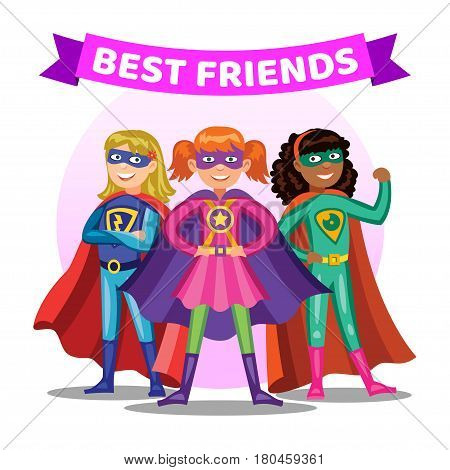 Three cartoon super heroines. Girls in colorful superhero costumes. Kids best friends. Vector illustration