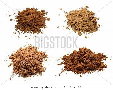 Collage photo of cocoa powder isolated on white background