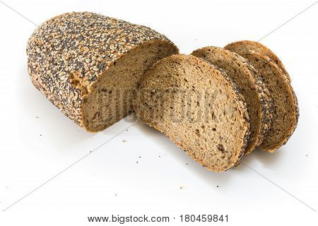 Whole Wheat Bread With Seeds Sliced, On White Background.