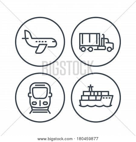 transportation industry line icons, maritime transport, ship, cargo truck, train