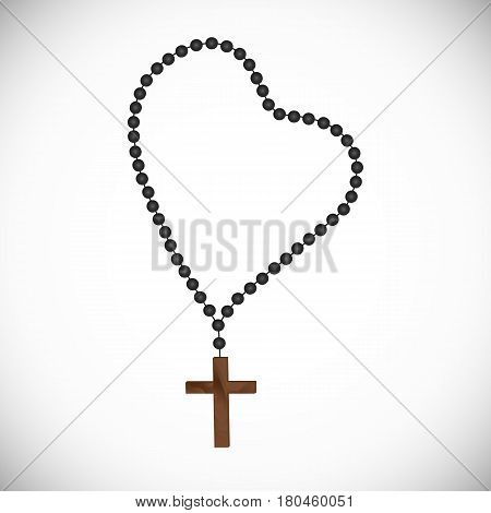 Catholic prayerful Rosary with black pearls with a wooden cross.