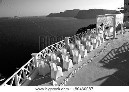 In The Sea  Of Santorini Greece Island Europe Anniversary And Marriage Cerimony