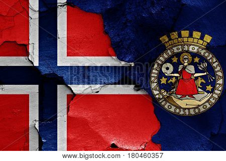 Flags Of Norway And Oslo Painted On Cracked Wall