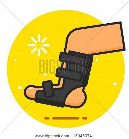 Broken leg bandage vector design illustration icon