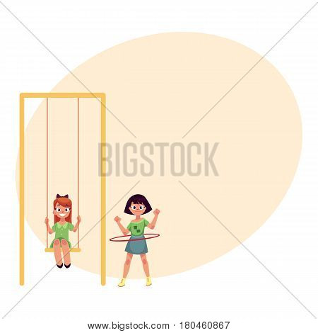 Two girls playing at playground, sitting on a swing and spinning hula hoop, cartoon vector illustration with space for text. Girl friends having fun at playground, summer activity concept