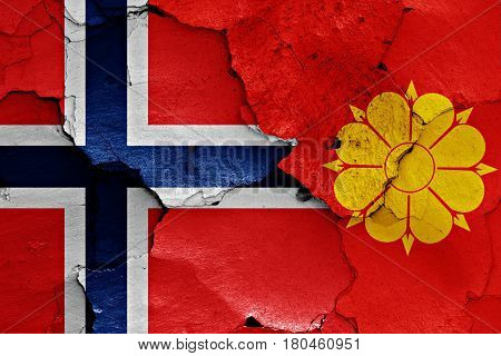 Flags Of Norway And Trondheim Painted On Cracked Wall