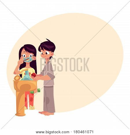 Little boy and girl in pajamas washing hands, brushing teeth, cartoon vector illustration with place for text. Boy and girl washing hands and brushing teeth, morning, evening hygiene routine