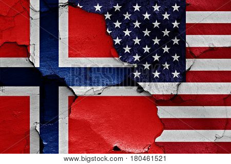 Flags Of Norway And Usa Painted On Cracked Wall