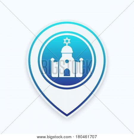 synagogue icon on map pointer, jewish house of worship