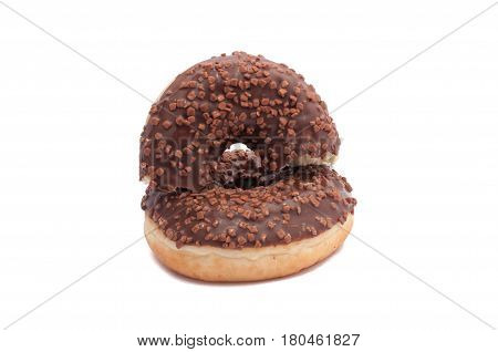 Two Chocolate Donut Is Broken Half