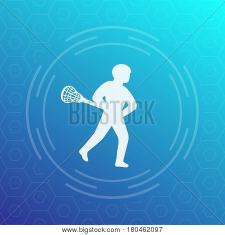 Lacrosse player vector icon, eps 10 file, easy to edit