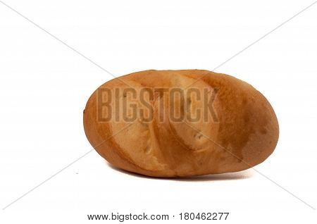 Small Bun Loaf Of Bread Isolated On White Background