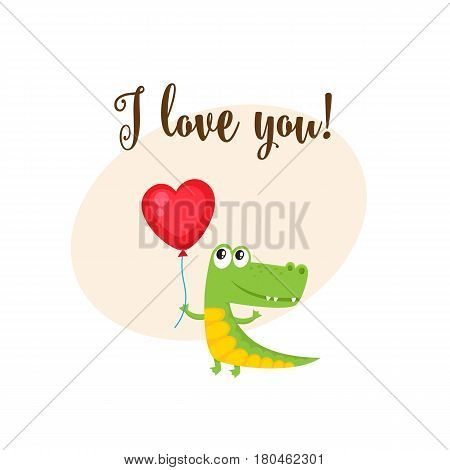 I love you greeting card, banner template with funny crocodile holding red heart shaped balloon, cartoon vector illustration. Cute crocodile holding heart balloon, love postcard, greeting card, banner