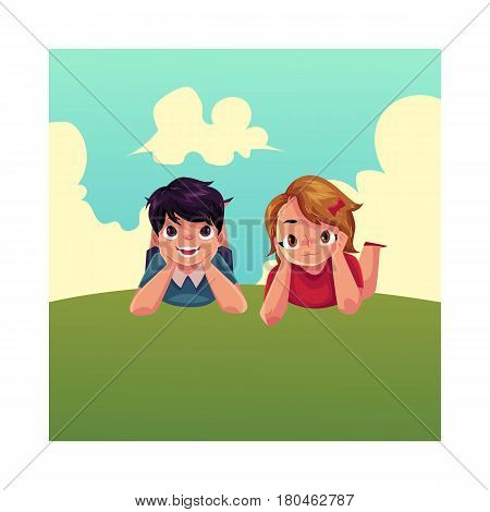 Two Caucasian kids, children, boy and girl, lying on grass under summer sky, colorful cartoon vector illustration. Teenage kids, children, friends, lying on grass together, enjoying summer vacation