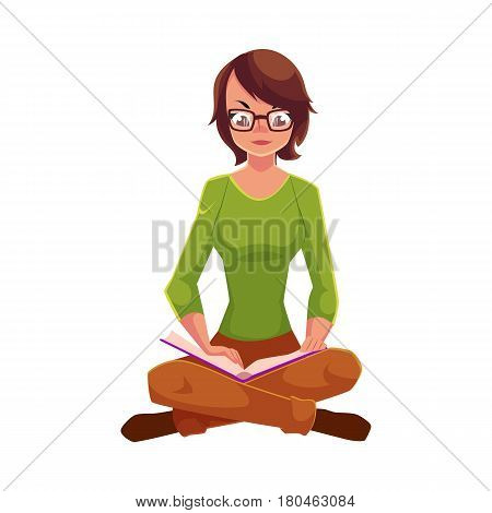 Full length portrait of girl, woman in glasses reading book while sitting with legs crossed, cartoon vector illustration isolated on white background. Girl, woman sitting legs crossed, reading book