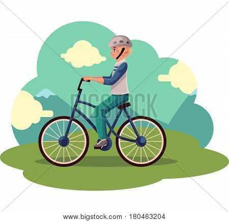 Teen boy, teenager riding urban bicycle, cycling in helmet, cartoon vector illustration. Full length, side view portrait of fair haired boy riding a bicycle, cycling in countryside,