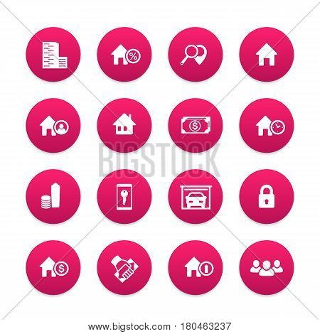 Real estate icons set, house sale, apartments, houses for rent, garage, building, renting