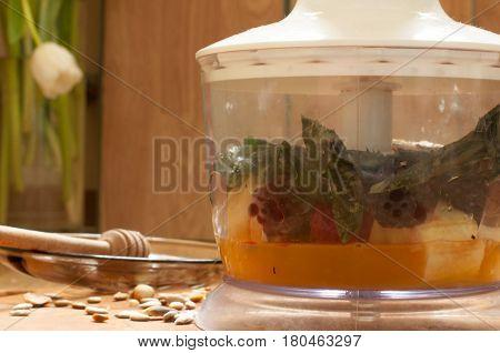Cooking, Orange Juice, Banana,frozen Strawberries Blackberries And Seeds Vivid Smoothie Ingredients
