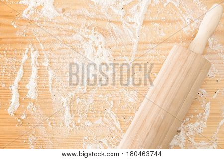 Messy Floured Wooden Surface/ Background And Rolling Pin.