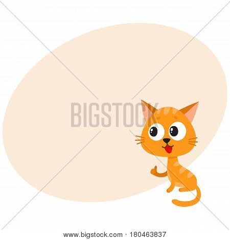 Cute and funny red cat character sitting and showing thumb up, cartoon vector illustration with space for text. Cute and funny red cat character with big eyes giving thumb up