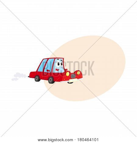 Cute and funny red car, auto character hurrying somewhere, cartoon vector illustration with space for text. Funny red car character, mascot hurrying, hasting somewhere at full speed