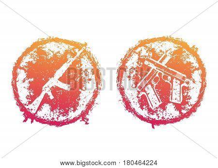 grunge round emblems, t-shirt prints with pistols, handguns and assault rifle over white