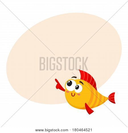 Funny smiling golden, yellow fish character pointing and looking at something, cartoon vector illustration with space for text. Crazy yellow fish character, mascot pointing to the left